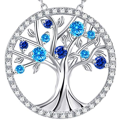GinoMay ❤️ Tree of Life❤️March Birthstone LC Aquamarine Blue Sapphire Necklace Sterling Silver Birthday Gift For Women,Elegant Gift Box,Allergen-free,45+5cm Extender
