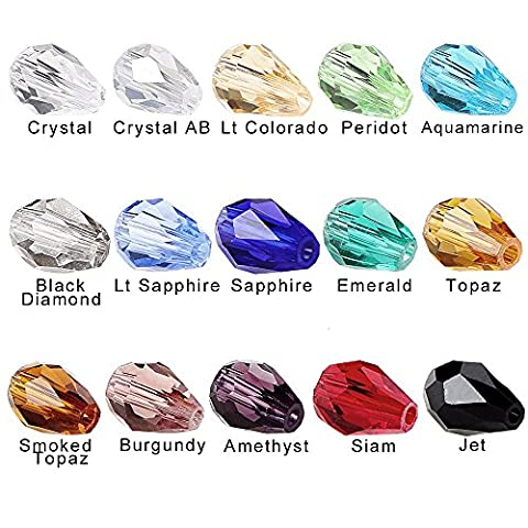 BRCbeads Glass Beads Crystal Findings Spacer Charms 150pcs Faceted #5500 Straight Hole Teardrop Shape 10x15mm Assorted Colors include Plastic Jewelry Container Box Wholesale Mix lot Beads for jewelery - Beads And Findings