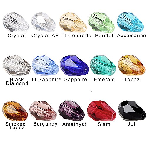 BRCbeads Glass Beads Crystal Findings Spacer Charms 300pcs Faceted #5500 Straight Hole Teardrop Shape 8x12mm Assorted Colors include Plastic Jewelry Container Box Wholesale Mix lot Beads for jewelery ()