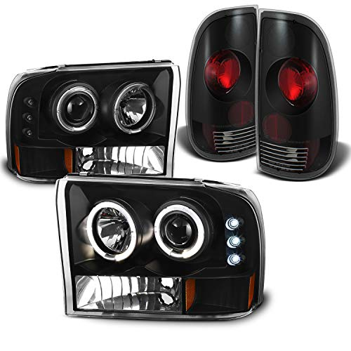 For Ford F-Series SuperDuty Black Bezel Dual Halo Projector Headlights Replacement + Tail light Set -