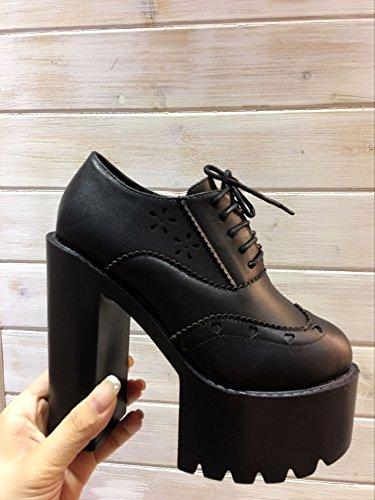 LvYuan Talones de las mujeres / cuero de patente / Oficina y carrera / Plataforma Talón Chunky / moda / Walking zapatos de encaje Black