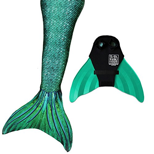 [Nunui Mermaid Set, Siren Green Tail, Teen/Adult Large (JL) 12-16, Green Monofin] (Girls Swimming Costumes Age 13)