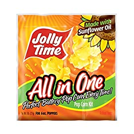 JOLLY TIME All-in-One Popcorn Machine Kits with Sunflower Oil, Kernels & Salt for 6 oz. Kettles (Pack of 36) 5 You will be receiving 36 all-in-one popcorn kits, for poppers with 6 ounce kettles Each packet contains a perfectly portioned amount of yellow kernels, sunflower oil and salt to produce 34.5 cups of popped popcorn 100 percent whole grain; non-gmo popcorn, high in fiber, 0g cholesterol, less than g saturated fat