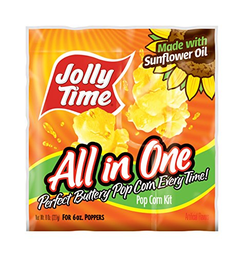 Jolly Time All-in-One Popcorn Machine Kits with Sunflower Oil, Kernels & Salt for 6 oz. Kettles (Pack of (Machine Salt)