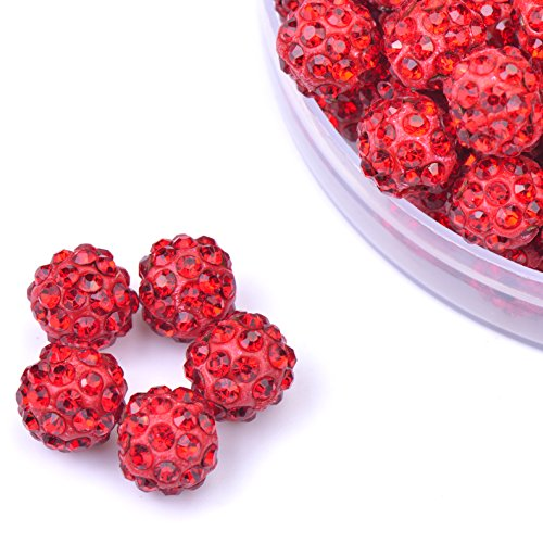 iCherry(TM) 10mm 100pcs/Lot Red Clay Pave Disco Ball for Rhinestone Crystal Shamballa Beads Charms Jewelry Makings (10 Mm Rhinestone Crystal)