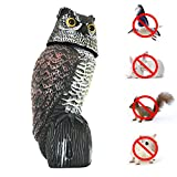 Garden Scarecrow Owl Decoy Bird Repellent with Scare Eyes and Frightening Sound, Realistic Predator Owl Deterrent Scare Away and Repel Birds, Mice, Squirrels, Rabbits more