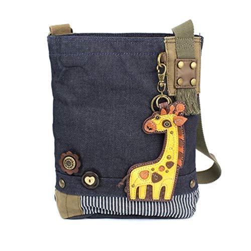 (Chala Patch Cross-Body Women Handbag, Blue Denim Canvas Messenger Bag (Giraffe Denim))