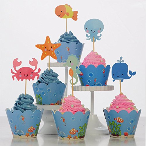 Dolland Sea Animal Creature Cupcake Decorations Cupcake Topper Picks For Party Decorations