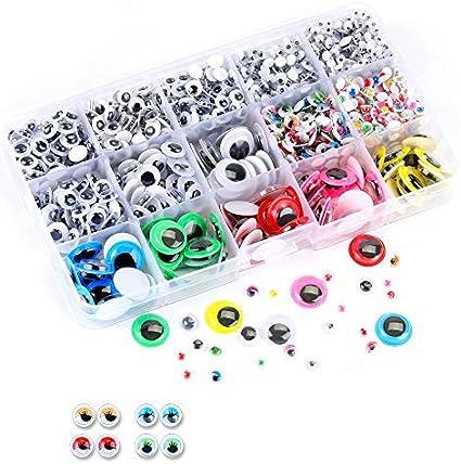 Ojos Adhesivos, 1500 Piezas Ojos de MuñEcas Adhesivos Ojos Moviles para Diy, Arte, Proyectos de Manualidades, Decoraciones, Juguetes (4mm-15mm)