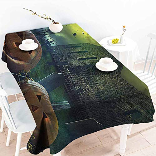 Polyester Tablecloth Halloween Decorations Pumpkin in Spooky Graveyard in Old Stone Haunted House in Dark Night Grey Yellow Table Decoration W70 xL102 -