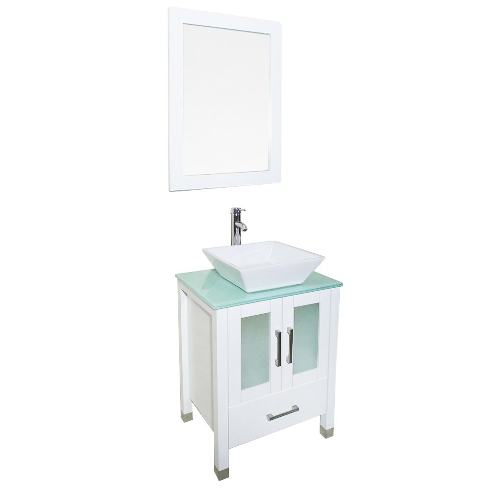 Qierao 24 Inch White Bathroom Solid Wood Vanity With Mirror Countertop Square Ceramic Vessel Sink White