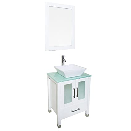 Qierao 24 Inch White Bathroom Solid Wood Vanity With Mirror