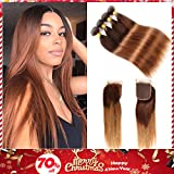 Brown Brazilian Hair Ombre Straight Hair Bundles with Closure, 2 Tone Ombre brazilian Virgin Human Hair Weave Bundles and Closure, T4/30 Medium Brown/Auburn(12 14 16 with 10)
