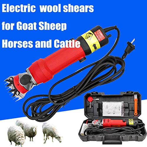 Electric Wool Shears for Goat Sheep Horses Cattle Hair Professional Heavy Duty Shearing Clippers Livestock Pet Shaving Pig Hair Scissors 6-Speed Adjustable,13ToothChangeSpeed