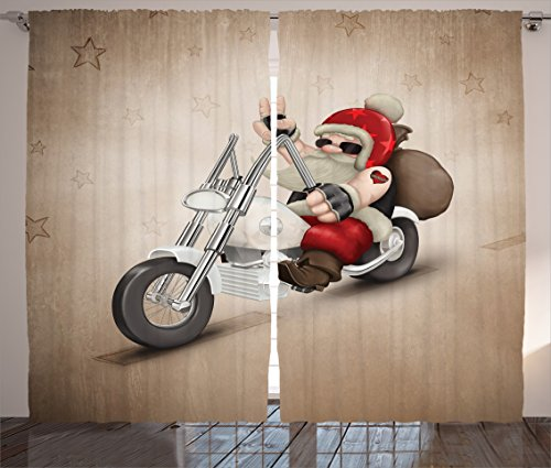Ambesonne Christmas Curtains, Rock Grunge Santa with Heart Tattoo on Motorbike Delivery Bikie Peace Theme, Living Room Bedroom Window Drapes 2 Panel Set, 108