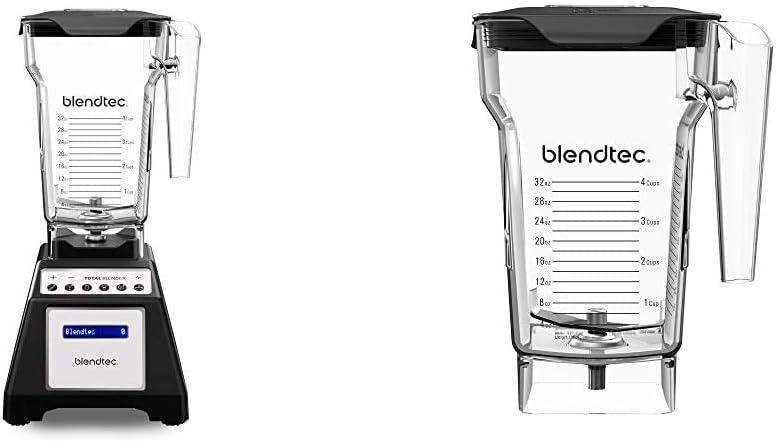 Blendtec Total Classic Countertop Blender, 75 oz, FourSide Jar Black & FourSide Jar (75 oz), Four Sided, Professional-Grade Blender Jar, Vented Latching Lid, BPA-free, Clear