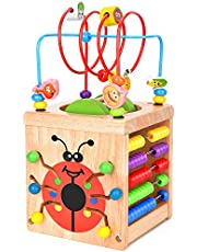 BATTOP Wooden Cube Activity Centre Baby 6-in-1 Multifunction Bead Maze Cube Learning Toys for Kids Toddlers Gifts