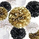 "VIDAL CRAFTS Set of 20 Pieces Party Tissue Paper Pom Poms Kit (14"", 10"", 8"", 6"" Paper Flowers) for Wedding, Birthday, Anniversary, Retirement (Black, White, Gold, Polka dot)"