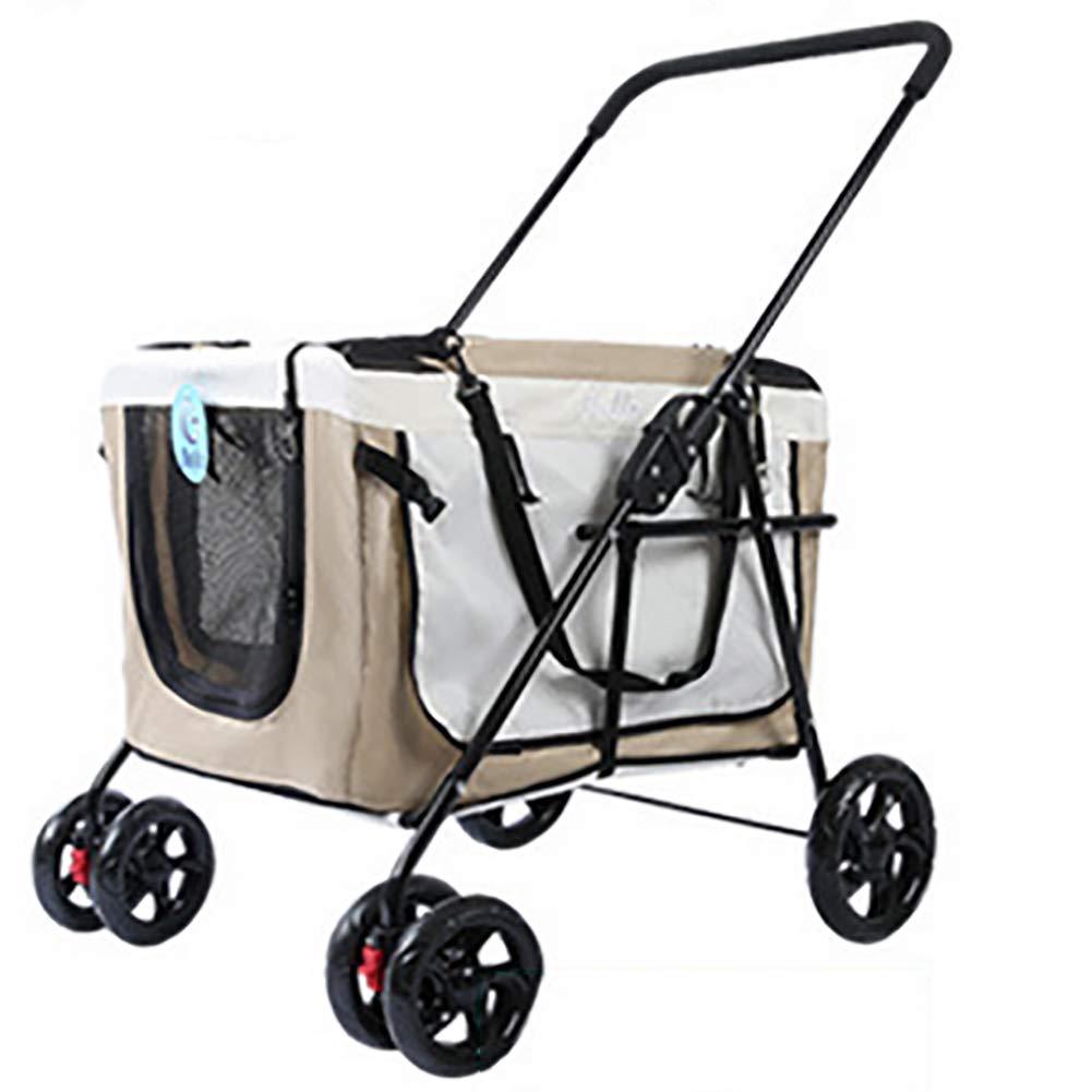 Beige Pet Stroller-for Dog Cat 4 Wheels Detach Carrier Waterproof Portable Carrier Cage bluee Red Beige