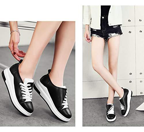 Low Femme Simples Lace Sneaker Chaussures Taille Femmes couleur De Marche Noir Pu 38 Top Hwf Blanc Up Mode 4fdXdq