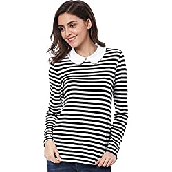 Allegra K Women's Long Sleeve Peter Pan Striped Top