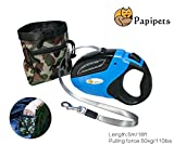 100 Feet Dog Leash - Papipets Retractable Dog Leash with 16 ft Unbroken Nylon Ribbon Extends for Small, Medium and Large Dogs up to 110lbs One Button Break and Lock a Free Camouflage Pocket included