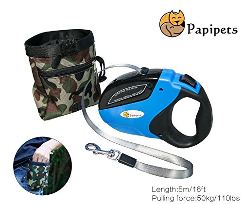 Papipets Retractable Dog Leash with 16 ft Unbroken Nylon Ribbon Extends for Small, Medium and Large Dogs up to 110lbs One Button Break and Lock a Free Camouflage Pocket included