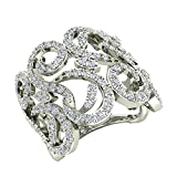 1.27 ct tw Fashion Band Filigree Diamond Cocktail Ring 18K White Gold (Ring Size 8)
