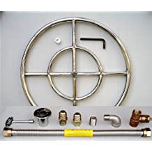 """18"""" Round Stainless Steel Fire Pit Gas Burner Ring Kit with Elbow"""