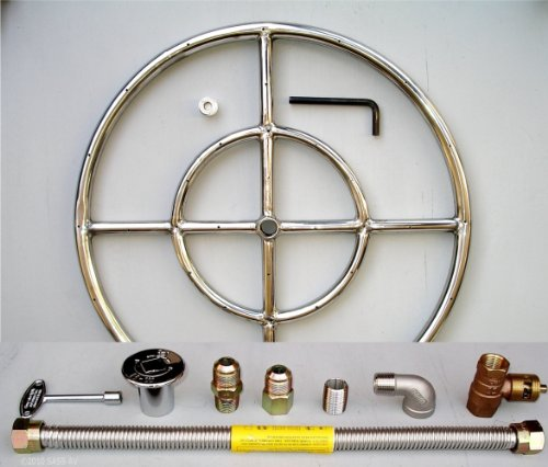 18'' Round Stainless Steel Fire Pit Gas Burner Ring Kit with Elbow by Fireplace Glass San Diego