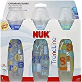 NUK TrendLine Orthodontic Bottles Silicone, Medium Flow For Boys Color May Vary 3 ea