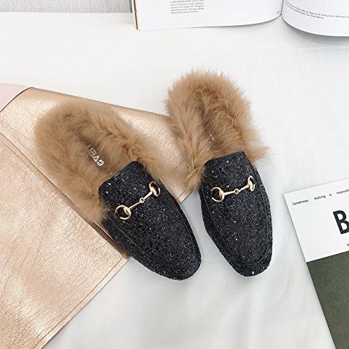 LaxBa Onorevoli Piano Casa Soft pantofole incantevole suola interna Cotton-Padded Scarpe Nero,36black36