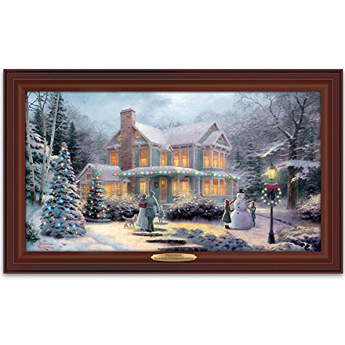 Thomas Kinkade Victorian Family Christmas Illuminated Canvas Print Wall Decor by The Bradford Exchange