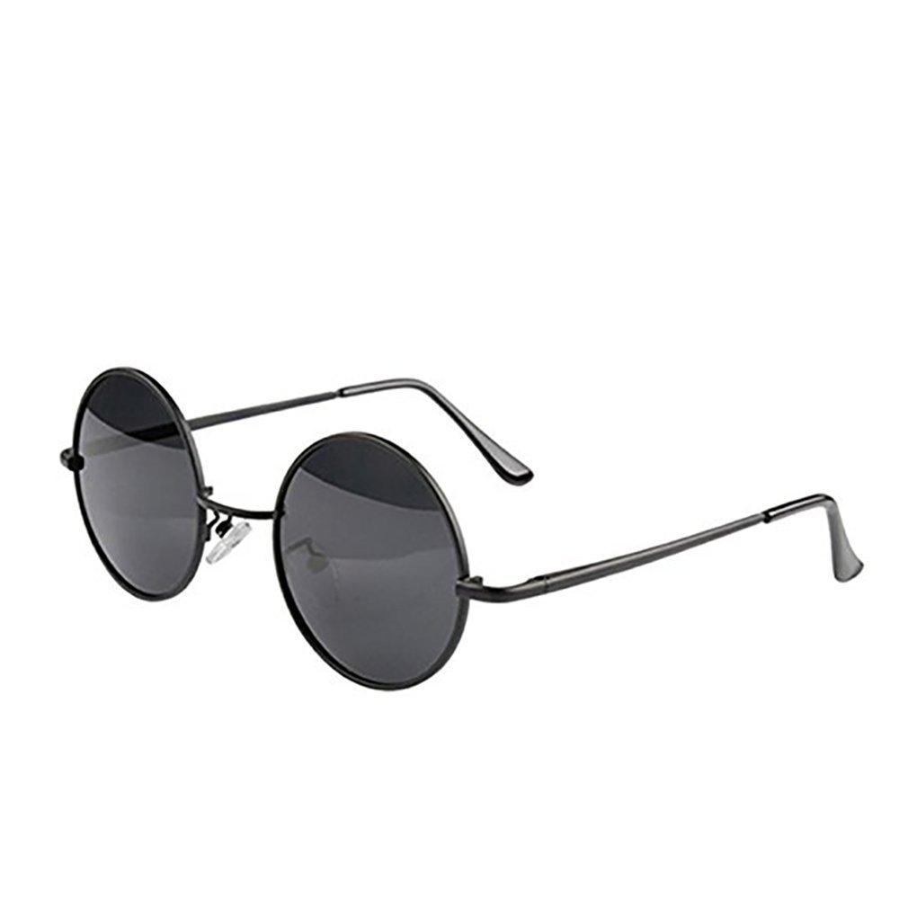 Romote Kleine Metallrahmen Runde Sonnenbrille (Schwarz)