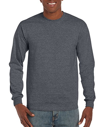 Gildan Men's Ultra Cotton Jersey Long Sleeve Tee, Dark Heather, X-Large