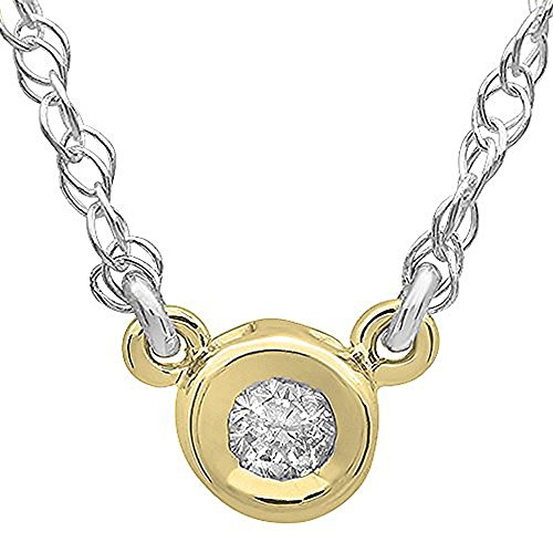 0.05 Carat (ctw) 14K Yellow Gold Round Diamond Ladies Solitaire Pendant 1/20 CT 0.05 Ct Round Diamond