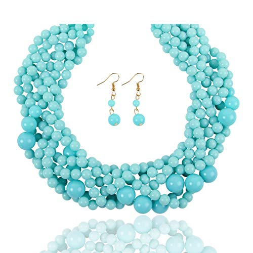 (RIAH FASHION Braided Chunky Cluster Bead Bubble Statement Necklace - Multi Strand Twisted Colorful Twisted Ball Hammock Bib Collar Acrylic, Sparkly Crystal (Twisted Bauble - Light Turquoise))