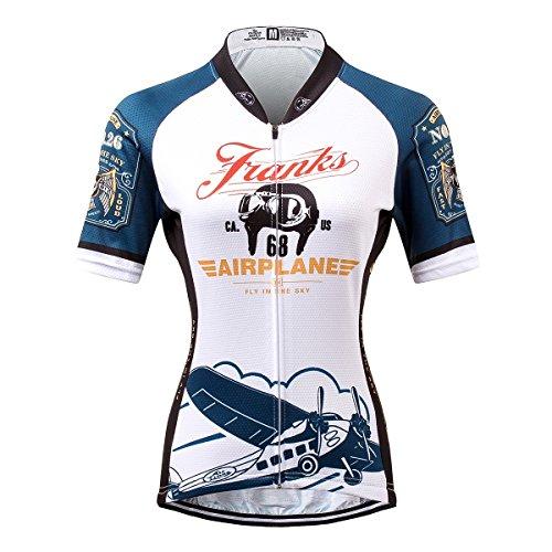 [해외] Thriller Rider Sports 싸이클 저지 레이디스 여성 자전거 운동 복장 반소매 Franks Airplane