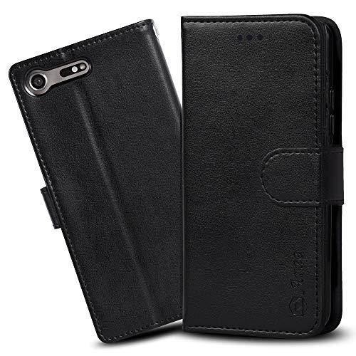 信仰無駄な風刺Xperia XZ Premium ケース 手帳型 SO-04J ケース 横置き機能 スマホケース Arae カードポケット付き ソニー エクスペリア XZ プレミアム SO-04J 対応用 財布型 ケース カバー (ブラック)