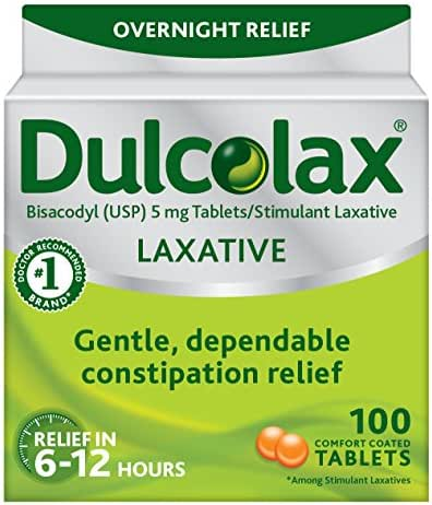 Dulcolax Laxative Tablets, 100 Count, Gentle, Reliable Overnight Relief from Constipation, Hard, Dry, Painful Stools, and Irregular Bowel Movements, Stimulates Bowel to Encourage Movement