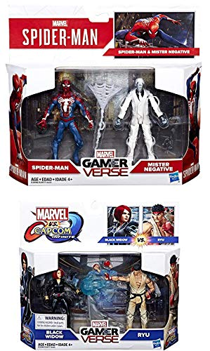 Double Super Marvel Gamer Verse Spider-Man Figure Pack Mister Negative + Ryu VS Black Widow Hero Bundle Set