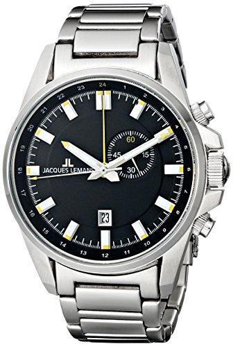 Jacques Lemans Men's 1-1653D Liverpool GMT Analog Display Quartz Silver Watch