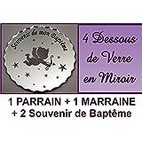 lot de 4 Dessous de Verre - Ange - Baptême & Communion