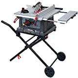 """Craftsman Portable Table Saw with Mobile Wheeled Stand - 10"""" Powerful Heavy Duty Rolling Table Saw"""