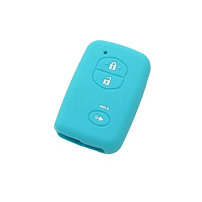 SEGADEN Silicone Cover Protector Case Skin Jacket fit for TOYOTA 3 Button Smart Remote Key Fob CV2404 Light Blue: Automotive