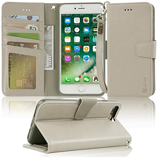Beige Cell Phone - Arae Case for iPhone 7 Plus/iPhone 8 Plus, Premium PU Leather Wallet Case with Kickstand and Flip Cover for iPhone 7 Plus (2016) / iPhone 8 Plus (2017) 5.5