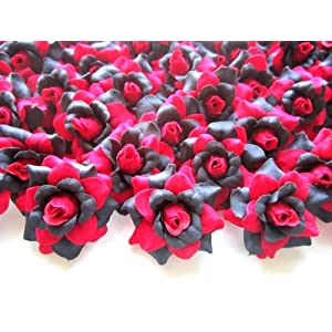 "(100) Silk Red Black Roses Flower Head - 1.75"" - Artificial Flowers Heads Fabric Floral Supplies Wholesale Lot for Wedding Flowers Accessories Make Bridal Hair Clips Headbands Dress 1"