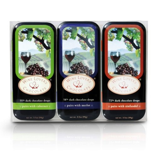 Lovers Gift Tin (Wine Lover's Chocolate 3-Tin Gift Set, Pair with Cabernet, Merlot, Zinfandel, 10.5-Ounce Gift Set)
