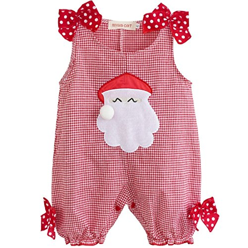 Girls Santa Outfit For (YiZYiF Christmas Santa Claus Costume Baby Boys' Girls' Plaid Romper Girls Bow 3-6)