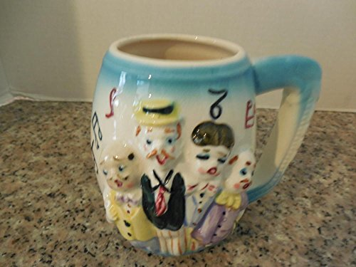 Vintage Japan Bawdy Barbershop Quartet Ceramic Mugs, Naughty